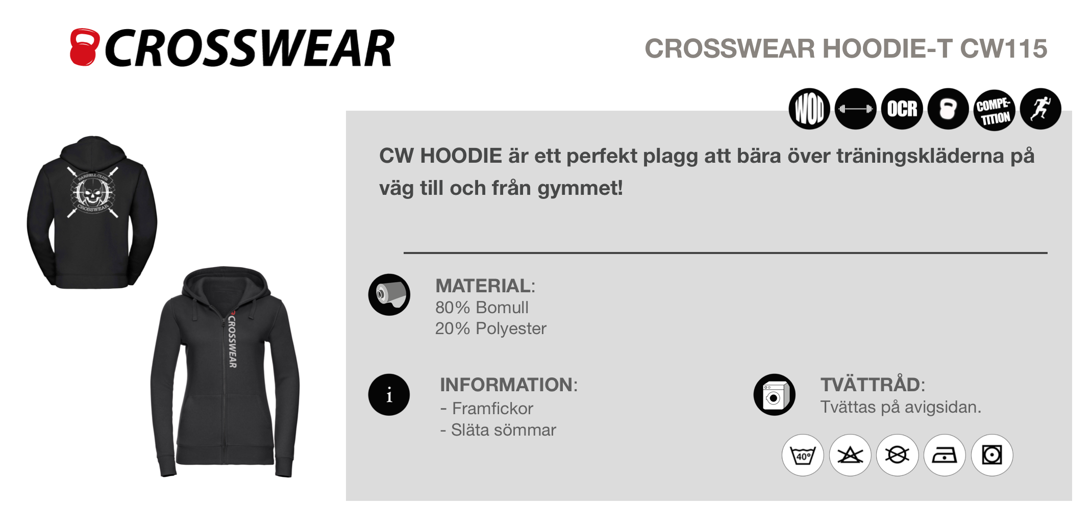 CW crossfit hoodie crosswear blue men white